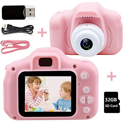 GSJDD Mini Kids Digital Video Camera, Kids Camera Toys for 3-9 Year Old Boys and Girls 1080p 2 Inch HD Lanyard Anti-Drop Design for Children (Pink)