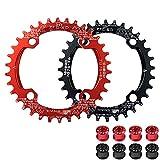 Plato de bicicleta de montaña SEESEE.U, 32-42T de una sola velocidad redondo, ovalado AL7075, anillo de cadena estrecho y ancho para cadenas 7-11S, Negro (cadena + 4 pernos)., 38TRound