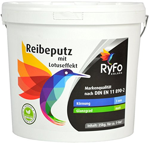 RyFo Colors Reibeputz mit Lotuseffekt 3mm 25kg - Fassadenputz, Oberputz, Edelputz, Strukturputz, Fertigputz weiß für außen, Silikonharz, witterungsbeständig, weitere Körnungen und Optiken wählbar