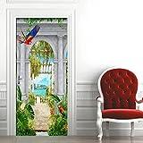 3D Calcomanías Puerta - Etiqueta puerta DIY Autoadhesiva Habitación para niños -- Garden Arches con vista al lago -- Mural diseño de decoración del hogar 88X200