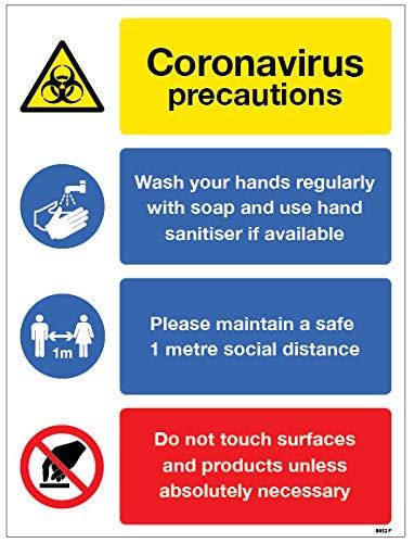 Coronavirus cartello precauzioni – Lavare le mani, mantenere 1 metro di distanza, evitare di toccare le superfici, adesivo in vinile (250 x 300 mm)