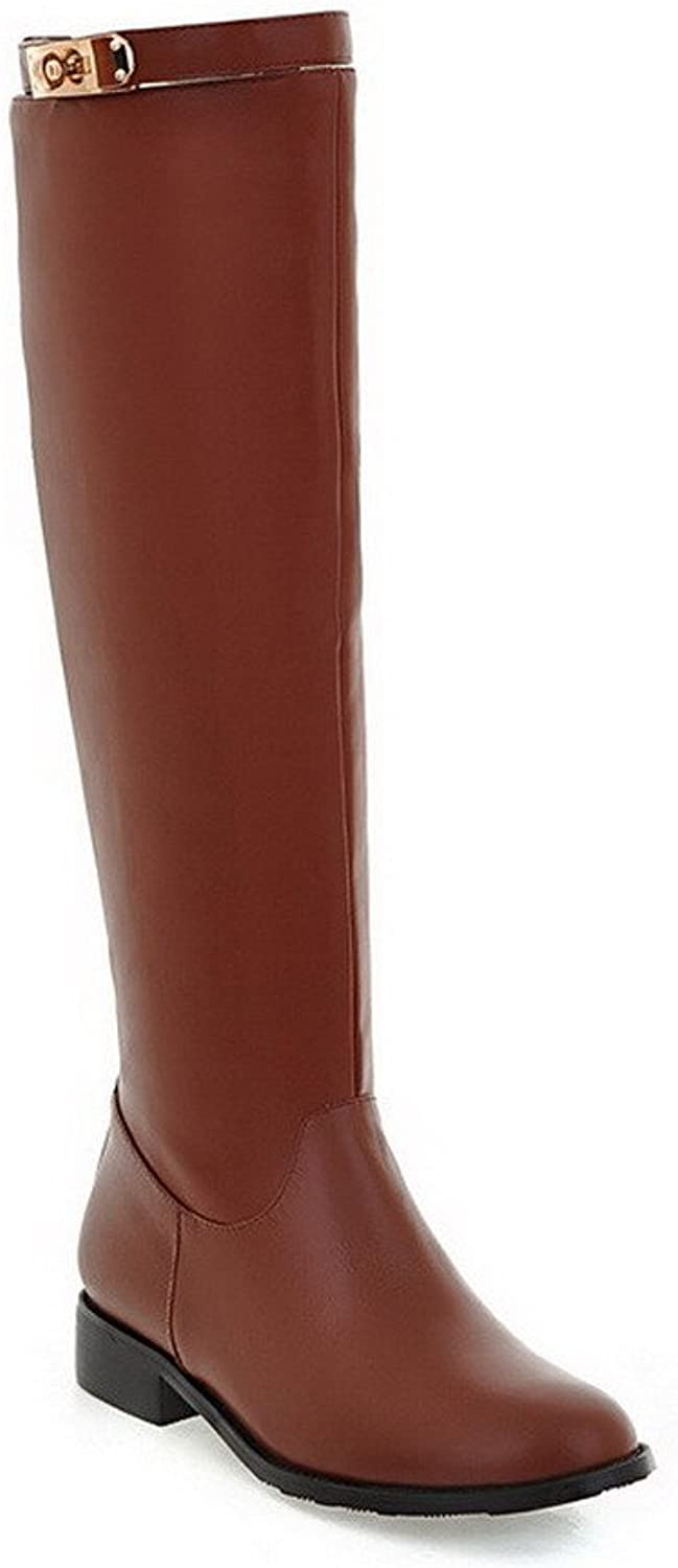 WeenFashion Women's Solid Soft Material Low-Heels Pull-on Round Closed Toe Boots