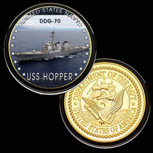 U.S. United States Navy | USS Hopper DDG-70 | Gold Plated Challenge Coin