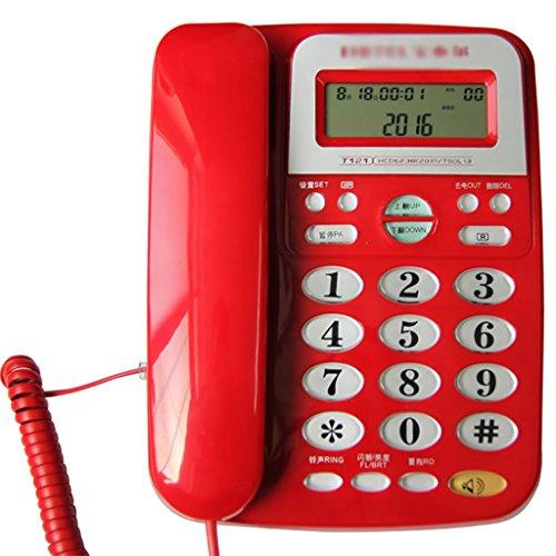 NYDZDM Escritorio con Cable, teléfono con altoparlante, Escritorio con Cable, teléfono con altoparlante, botón Grande, teléfono con Cable, Escritorio/con contestador en Rojo