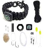 LAST MAN The Ultimate Paracord Survival Kit Bracelet (Large, Black with...