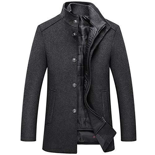 Wollen Jas Mannen Winter Windbreaker Lange Dikke Wollen Jassen Man Single Breasted met Vest Wollen Jassen