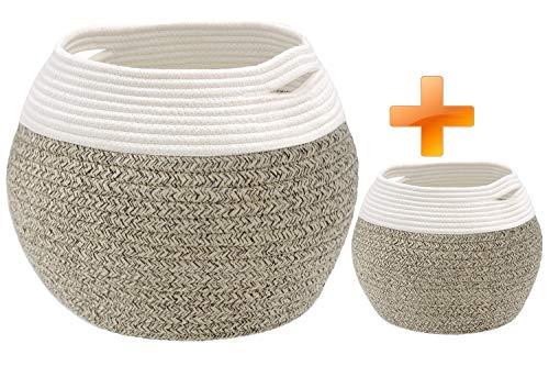 Cesta de almacenamiento pequeña con asas, cesta de cuerda de algodón, cesta tejida para juguetes, cesta de almacenamiento para juguetes, Juego de 2 marrones, 10in * 8.3in & 8in * 6in