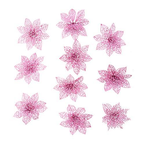 WINOMO Fiori artificiali per la decorazione albero di natale Fiori glitter in rosa