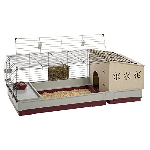 Krolik Extra-Large Rabbit Cage w/ Wood Hutch Extenstion | Rabbit Cage Includes All Accessories & Measures 55.9L x 23.62W x 19.68H & Includes ALL Accessories | 1-Year Manufacturer's Warranty