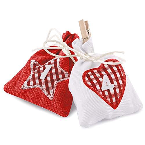 pajoma Adventskalender zum Befüllen Karo 24 Stoffbeutel Geschenksäckchen Weihnachten, Weihnachtskalender DIY (rot)