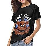 DCEGasc Camiseta de béisbol Five Nights at Freddy Free hugs para mujer, cuello redondo, manga corta raglán