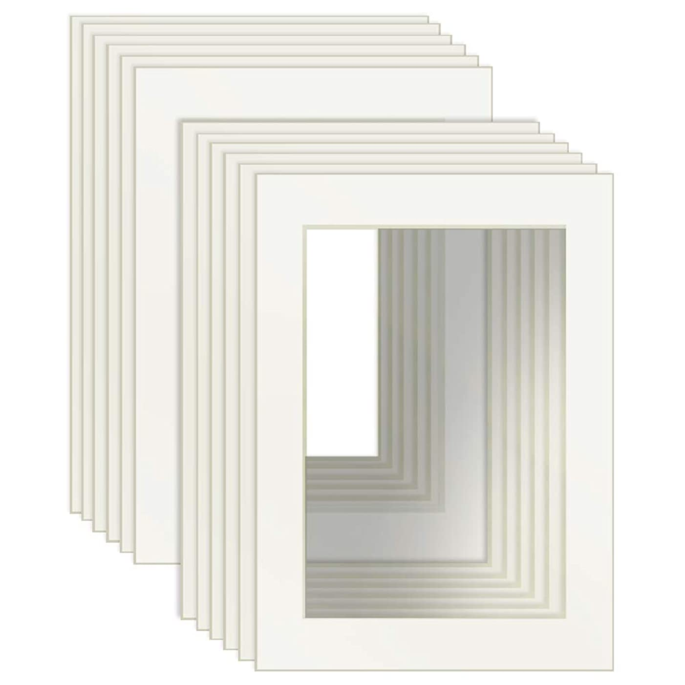 Dreamyard 5x7 White Picture Mats with Core Bevel Cut Frame Mattes for 4x6 Pictures- Pack of 12