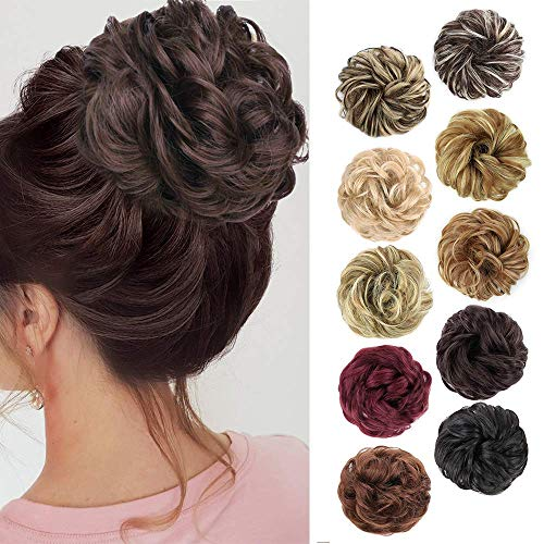MORICA 1PCS Messy Hair Bun Hair Scrunchies Extension Curly Wavy Messy Synthetic Chignon for women Updo Hairpiece (8#(Medium chestnut Brown))