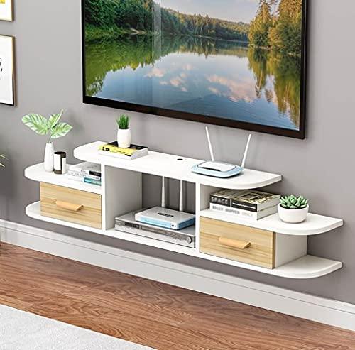 Mueble de TV Mesa Flotante,Soporte de TV Flotante para Ahorrar Espacio, Estante de Entretenimiento Colgante para Decodificador Y Enrutador para Sala de Estar/A/Los 140CM