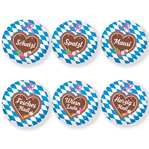 Polarkind Oktoberfest Anstecker Button | 6er-Set | Handmade in Germany | 38mm