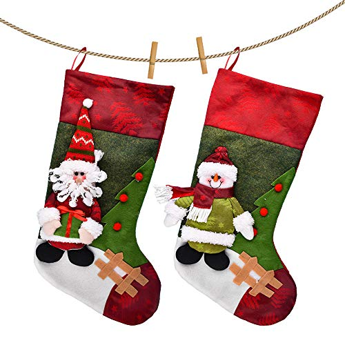 MAXCCC Christmas Socks, Large Flannel Bag for Children, Christmas Decoration Pendant, Suitable for Decoration of Malls, Supermarkets, Homes and Other Places (Santa Claus,Snowman)