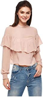 Bershka Ruffle & Peplum Tops For WOMEN, Peach, Size XS