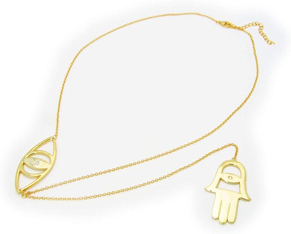 Fronay JE1144 18 & 7 in. Extender Evil Eye & Hamsa Charm Lariat Necklace in 18k Gold Plated Sterling