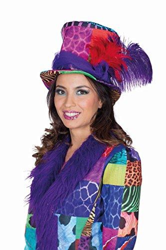 Karnevalshut bunt Patchwork Zylinder Fasching Garde Hut Mütze Flickenhut Hut mit Feder