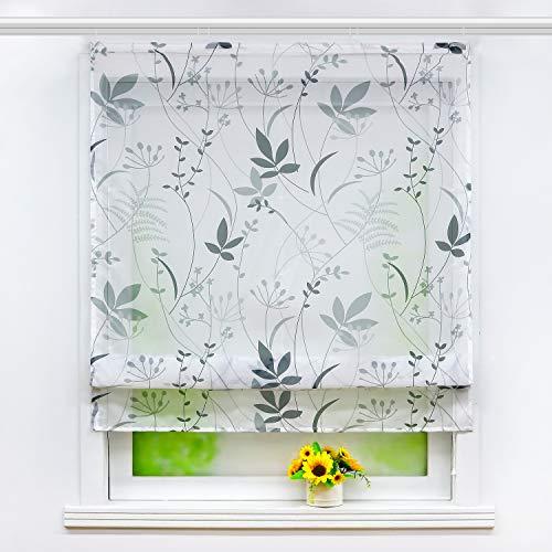 Joyswahl Cortina Plisada de Voile con Estampado Floral Transparente «Therese», Cortina para Ventana 1 Pieza, poliéster, con riel de Velcro, BxH 120x140cm
