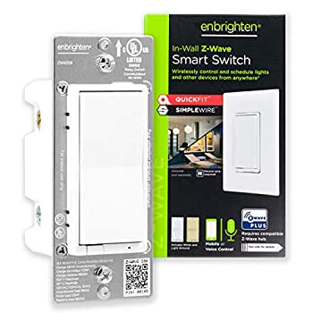 Enbrighten Z-Wave Smart Rocker Light Switch with QuickFit and SimpleWire 3-Way Ready Works with Alexa Google Assistant ZWave Hub Required Repeater/Range Extender White & Light Almond 46201