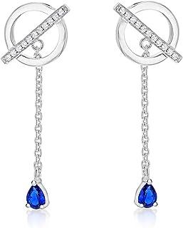 Tuscany Silver 女式纯银镀铑白色和蓝色方晶锆石 9.8 x 32 mm 圆条和链吊坠耳环