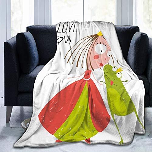 Manta mullida, princesa y príncipe rana besando linda diversión para niños, historia romántica dibujada a mano, manta de bebé ultra suave para dormitorio, cama de TV, manta de cama de 80 x 60 pulgadas