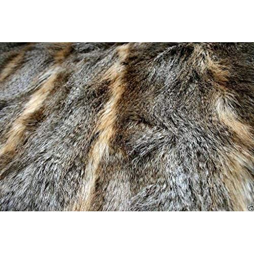 HILO BLACK WHITE GREY BLUE Super Luxury Faux Fur Fabric Material