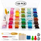 Niceclub Stickgarn 139pcs Stickgarn String Kits 100 Stränge Premium Rainbow