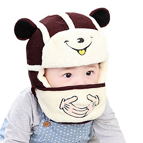 YAOSEN Winter Plush Bear Hat and Mouth Mask Set for Infants and Toddlers (Wine)