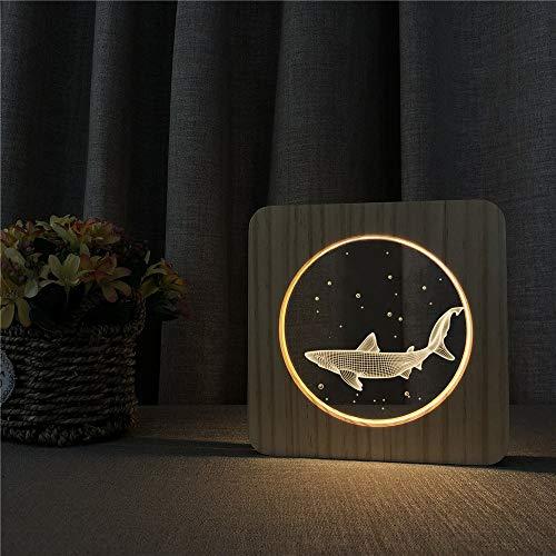 Solo 1 pieza Pequeño tiburón animal 3D LED acrílico de madera luz de noche luz de mesa control de interruptor de luz grabado luz decoración de la habitación de los niños regalo