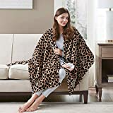 Sherpa Heated Robe Poncho, Snuggle Electric Blanket Throw |Top Warming Gifts for Holiday |Washable Reversible Fleece, 50 x 64 Inch, Leopard Print, 3 Heating Levels - 2hr Auto Shut Off