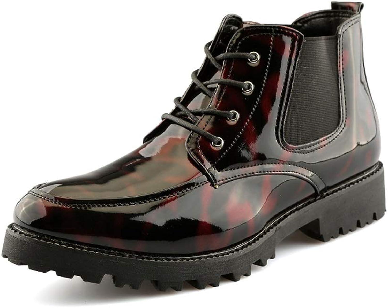 YJiaJu Mode Stiefeletten, Casual Persönlichkeit Patchwork Lackleder Hohe Stiefel Stiefel Stiefel für Männer (Farbe   Rot, Größe   40 EU)  b7a8c8