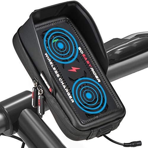 So Easy Rider 13 en 1 Soporte Teléfono Moto Impermeable con Cargador Inalámbrico y Ventilador,Bolsa Bicicleta Manillar Scooter GPS Montaña para 4.3 a 6.3 Pulgadas iPhone Galaxy Huawei Móvil