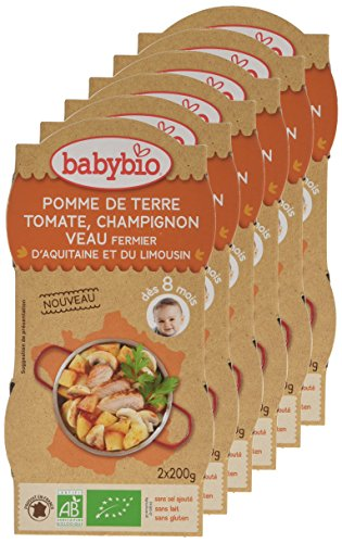 Babybio Bols Pomme de Terre Tomate Champignon Veau Fermier d'Aquitaine/du Limousin 400 g - Lot de 6