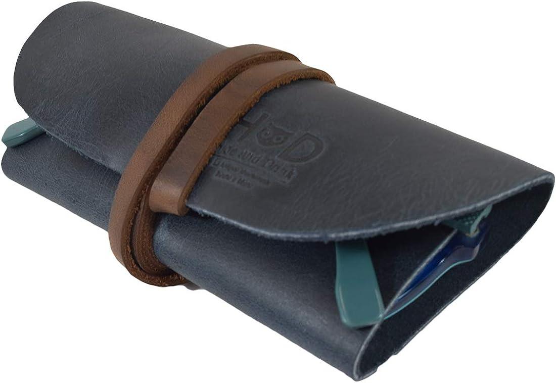 Rustic Leather Sunglass Wrap/Slim Travel/Soft Eye Glasses Storage Handmade by Hide & Drink :: Slate Blue