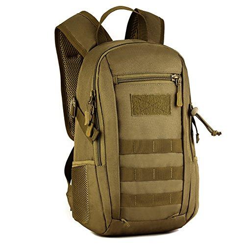 Fancybox Mini sac à dos militaire MOLLE 10 L Sac à dos tactique pour étudiant Sac d'école pour la chasse, le camping, le trekking, les voyages (marron)