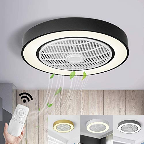 Plafondventilator LED Plafond Ventilator Met Afstandsbediening Verborgen Creative Dimbare Light Rust 3 Speed ​​3 Kleuren Dimbare Plafondlamp Voor House on Sunset Room Child,Black