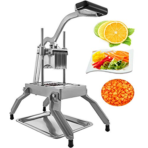 """Happybuy Commercial Vegetable Fruit Dicer 1/4"""" Blade Onion Cutter Heavy Duty Stainless Steel Removable and Replaceable Kattex Chopper Tomato Slicer, Sliver"""