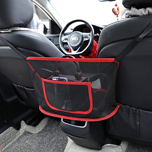 Auto Netztasche Handtaschenhalter, Sitz Rücken Organizer Tasche für Geldbörse & Tasche kleinere Gegenstände, Auto Sitz Lagerung Netz Tasche zwischen zwei Sitzen, Fahrer Lagerung Netz Tasche(Rot)