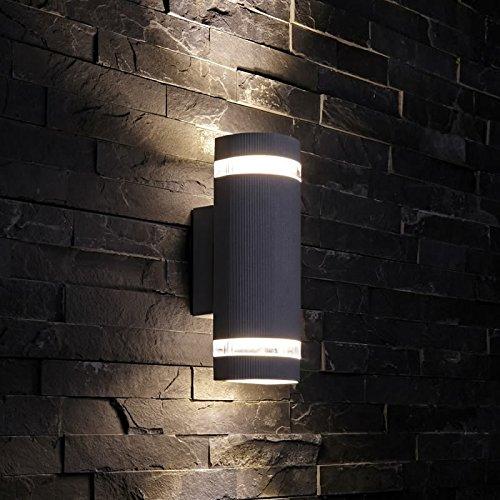 Biard - Applique Extérieure Murale LED GU10 - Design Demi Cylindre Noir - Double Faisceau