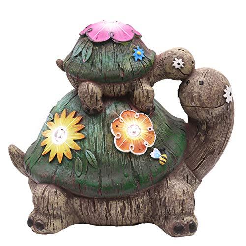 TERESA'S COLLECTIONS 6.7'/ 17cm Ornamenti da Giardino Fatina Turtle, Resina Accessori da Statua Esterna con Luci Solare, Decorazione per Garden Path Lawn (Paradiso Esterno)
