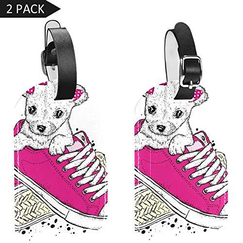 LORVIES Leuke Puppy met Strikken in Sneakers Mooie Hond Bagage Tags Reizen Labels Tag Naam Kaarthouder voor Bagage Koffer Tas Rugzakken, 2 PCS