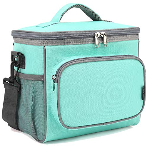 Insulated Reusable Lunch Bag Adult Large Lunch Box for Women and Men with Adjustable Shoulder Strap,Front Zipper Pocket and Dual Large Mesh Side Pockets by FlowFly,Jade Green