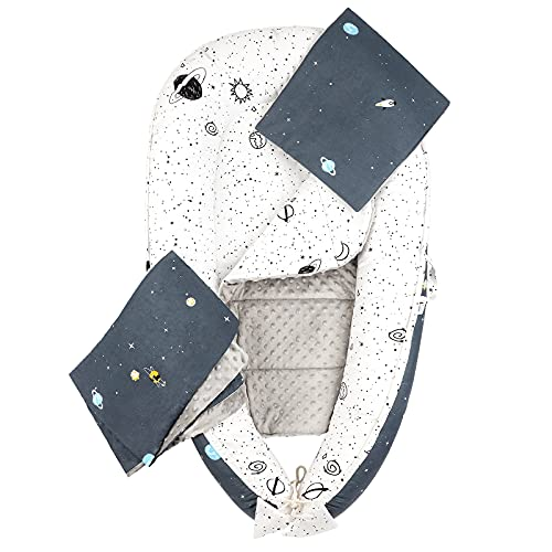 Luchild Nido Bebé Recién Nacido, Juego de 5 piezas Reductor de Cuna Nidos, Cama cana nido de viaje Doble Caras para bebe dormir