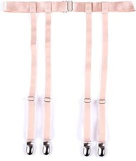 Women Black Simplicity Sexy Suspender Garter Belt Thigh High Stockings, Metal Clips