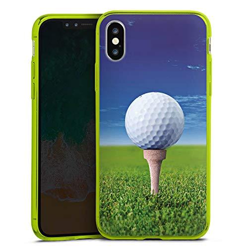 DeinDesign Apple iPhone XS Slim Case transparent neon grün Silikon Hülle Schutzhülle Golf Golfball Sport
