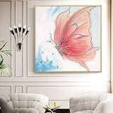 Geiqianjiumai Mariposa Abstracta Pintura al óleo Lienzo Arte Regalo decoración del hogar Sala Arte de la Pared Pintura sin Marco 70X70cm