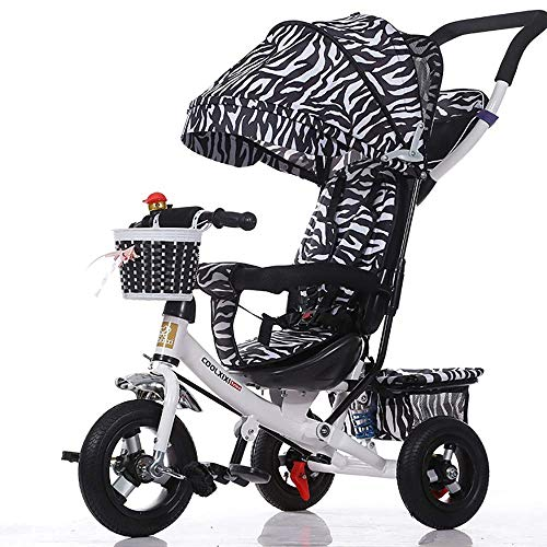 Lowest Prices! Baby Trike Foldable,3 Wheel Push Maximum 4 in 1 Childrens Folding Tricycle for 6 Months to 5 Years Weight 30 kg (Color : White)