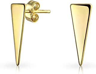 Minimalist Geometric Triangle Arrow Tiny Stud Earrings For Women For Teen 14K Gold Plated 925 Sterling Silver